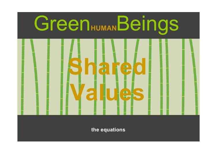 Green HUMAN Beings Shared Values the equations
