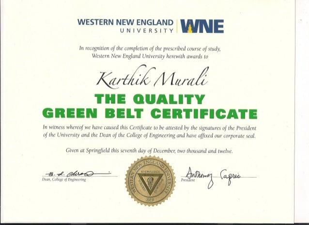 Green Belt (Quality) Certificate