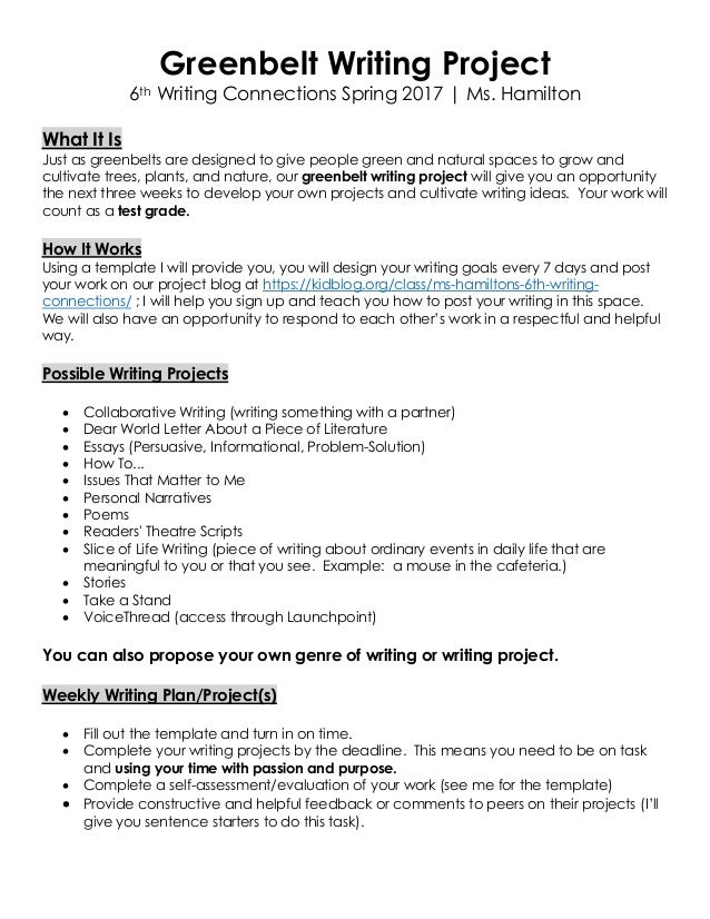 Greenbelt Writing Project 6th Writing Connections Spring 2017 | Ms. Hamilton What It Is Just as greenbelts are designed to...