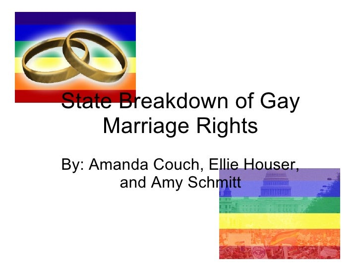 State Breakdown of Gay Marriage Rights By: Amanda Couch, Ellie Houser, and Amy Schmitt