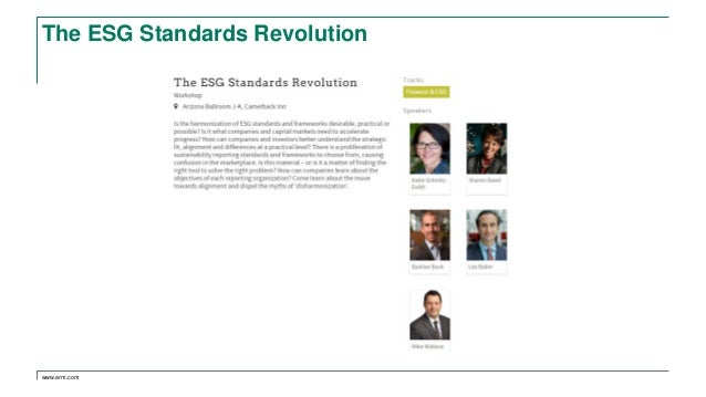 www.erm.com The ESG Standards Revolution