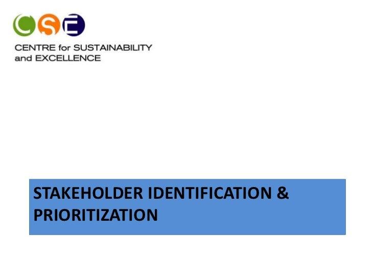 STAKEHOLDER IDENTIFICATION &PRIORITIZATION
