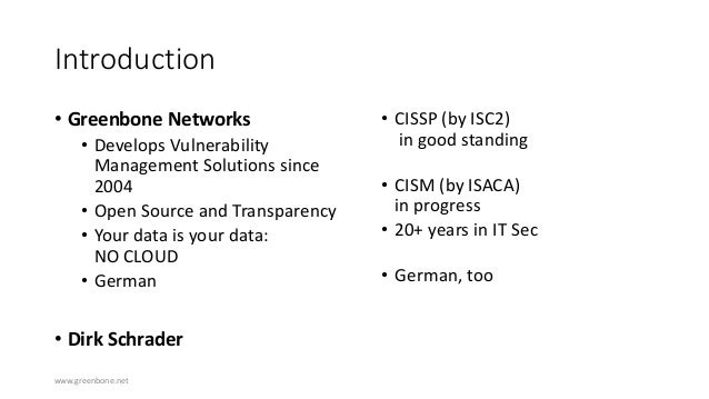 Greenbone vulnerability assessment  - Networkshop44 Slide 3