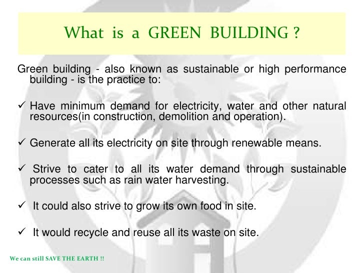 what is green building essay