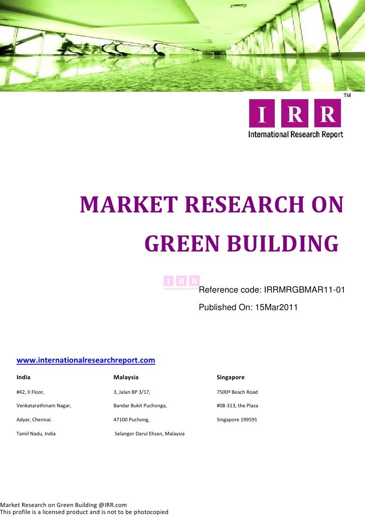 MARKET RESEARCH ON                                                        GREEN BUILDING                                  ...