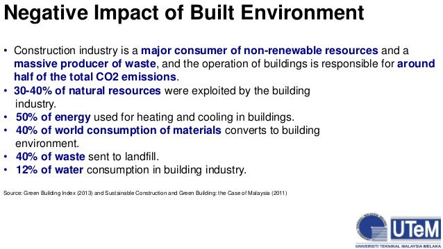 The construction of buildings and the effects to the environment