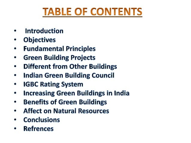 3. OBJECTIVES OF GREEN BUILDING ...