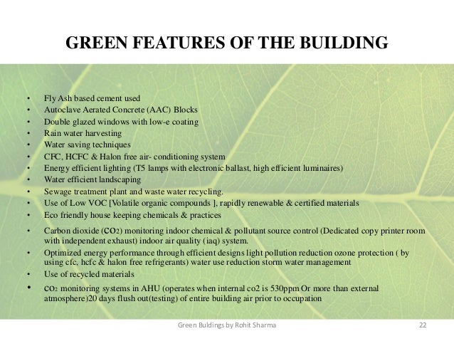Green buildings for Green building features checklist