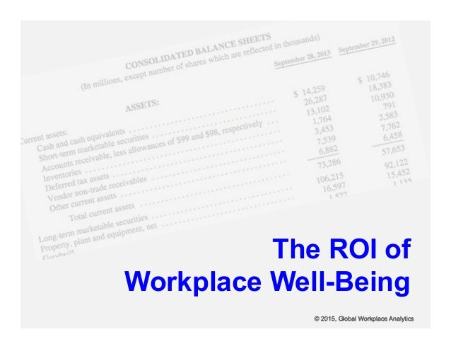 The ROI of Workplace Well-Being © 2015, Global Workplace Analytics