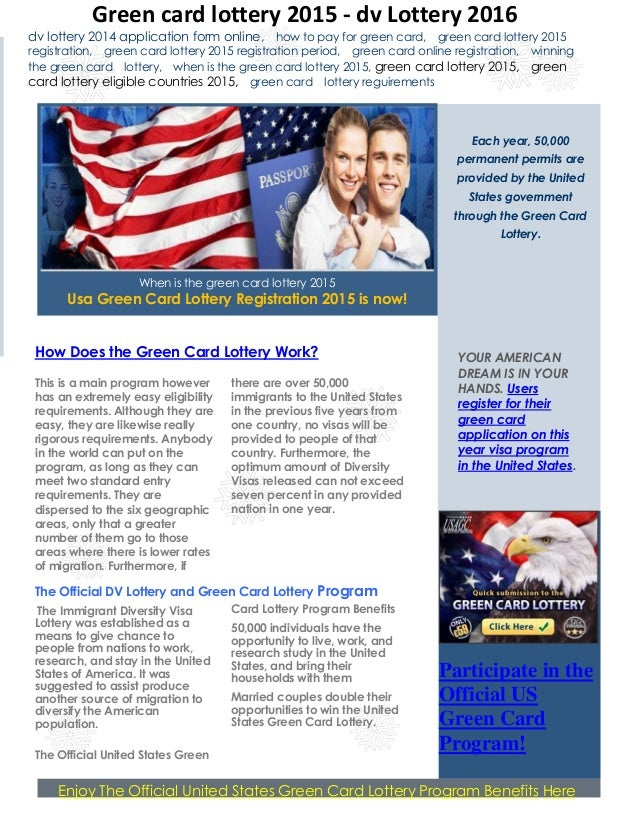 The Official DV Lottery and Green Card Lottery Program The Immigrant Diversity  Visa Lottery was established ...