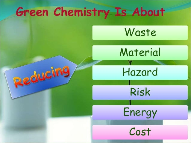 4 Green Chemistry Is About Waste Material Hazard Risk Energy Cost