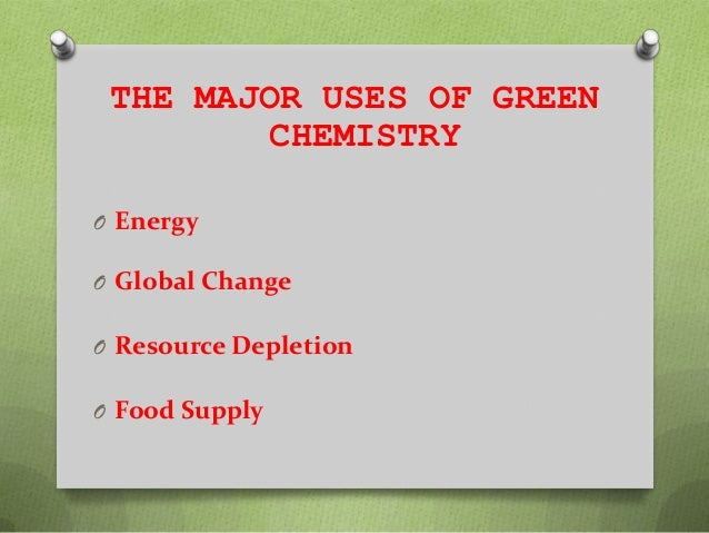 the importance and application of green chemistry The green chemistry revolution is providing an enormous num-ber of challenges to those who practice chemistry in industry, education and research with these challenges however, there are an equal number of opportunities to discover and apply new chemistry, to improve the economics of chemical manufacturing and to enhance the much-tarnished image of chemistry.
