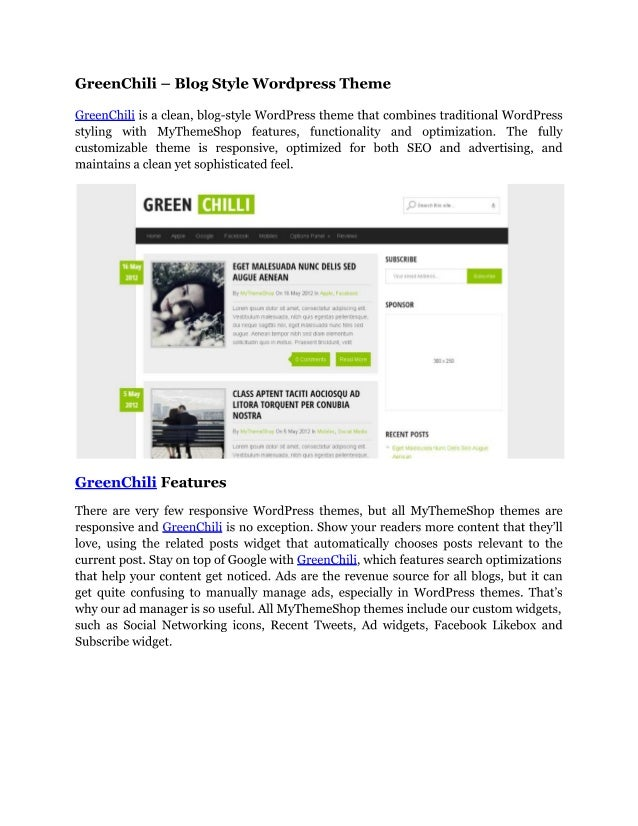 Green chili   blog style wordpress theme