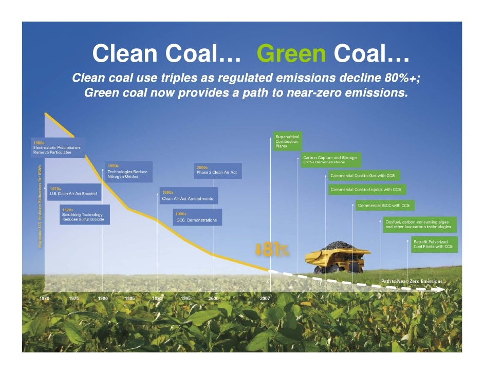 Clean Coal… Green Coal… Clean coal use triples as regulated emissions decline 80%+;   Green coal now provides a path to ne...
