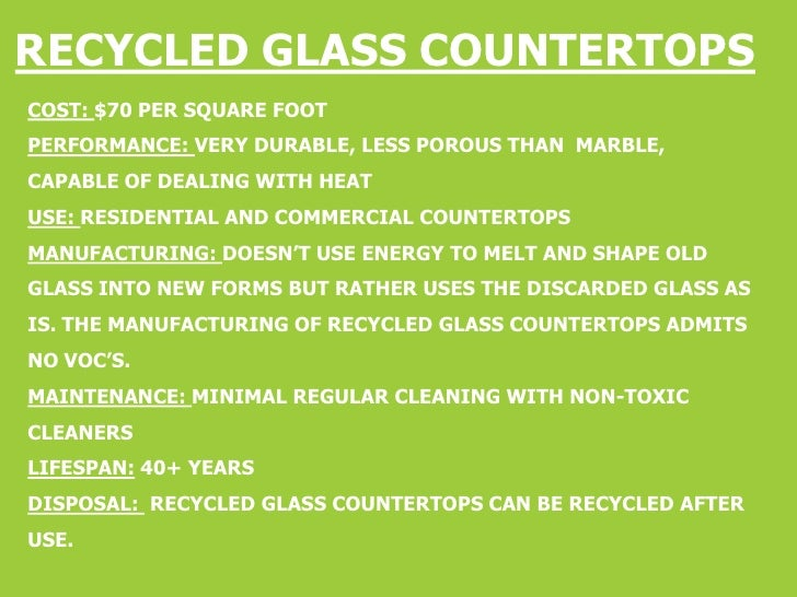 ... 3. RECYCLED GLASS COUNTERTOPSu003cbr /u003eCost: $70 Per Square Foot ...