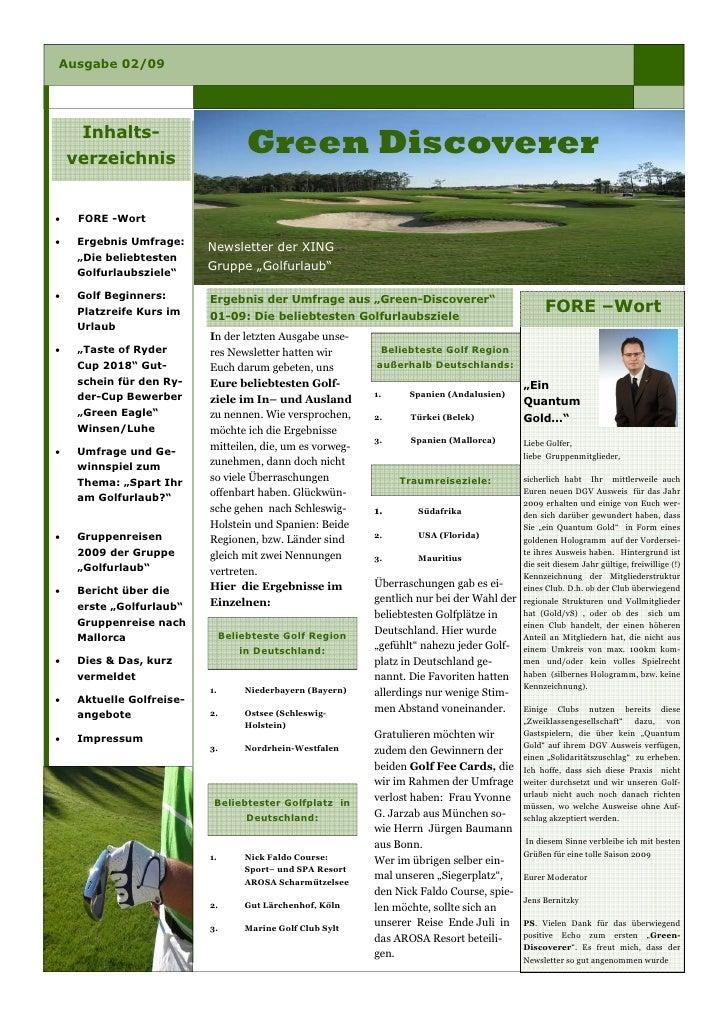 Ausgabe 02/09          Inhalts-                                      Green Discoverer     verzeichnis        FORE -Wort • ...