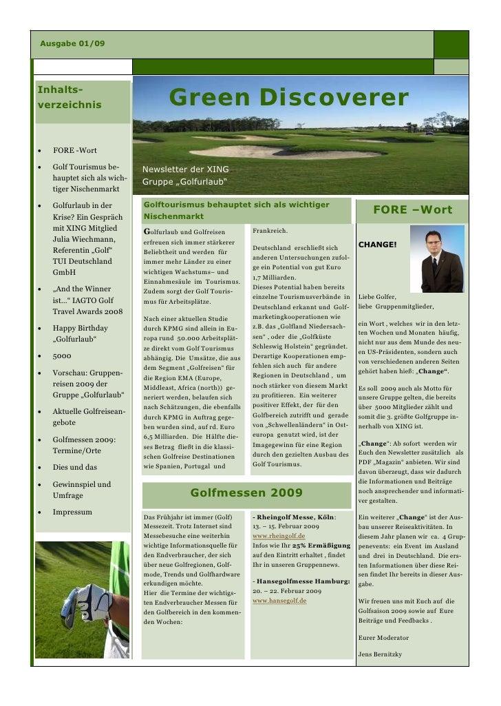 Ausgabe 01/09     Inhalts-                                      Green Discoverer verzeichnis        FORE -Wort       Golf...