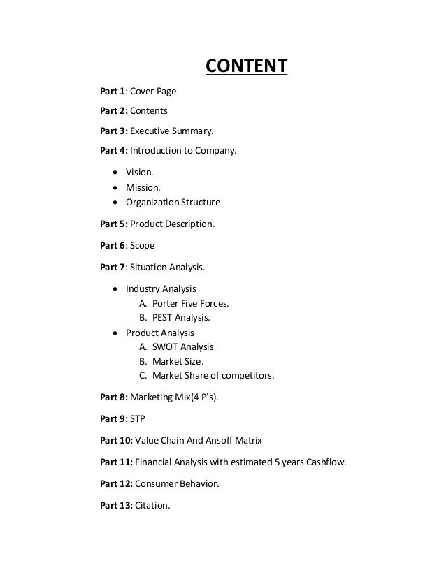 market summary for a business plan