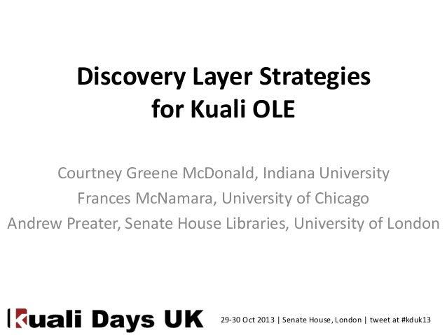 Discovery Layer Strategies for Kuali OLE Courtney Greene McDonald, Indiana University Frances McNamara, University of Chic...