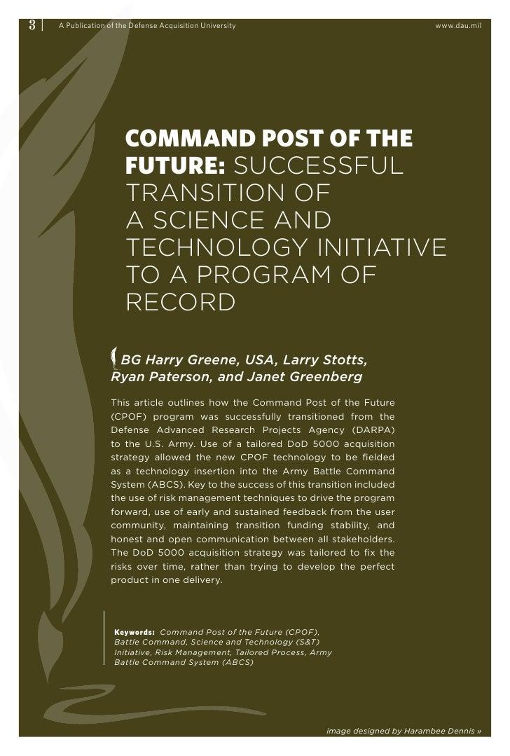 3|   A Publication of the Defense Acquisition University                                     www.dau.mil                  ...