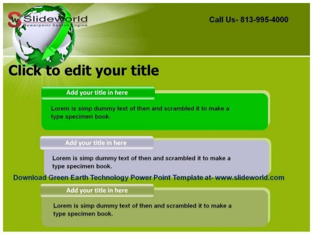 green earth technology powerpoint template, Modern powerpoint