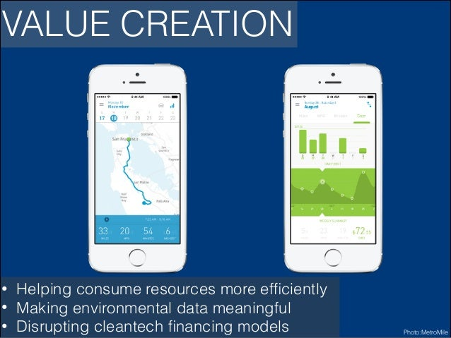 VALUE CREATION  • • •  Helping consume resources more efficiently Making environmental data meaningful Disrupting cleantech...