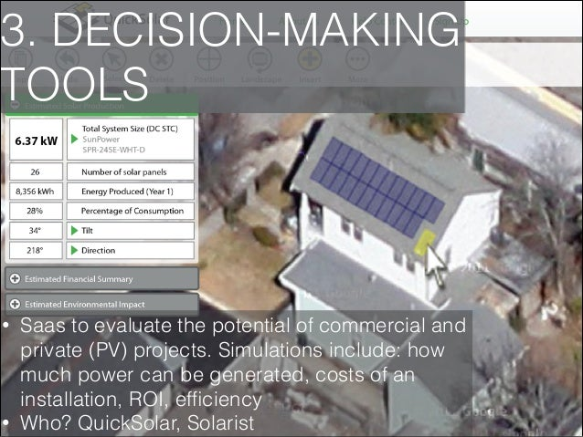 3. DECISION-MAKING TOOLS  •  •  Saas to evaluate the potential of commercial and private (PV) projects. Simulations includ...
