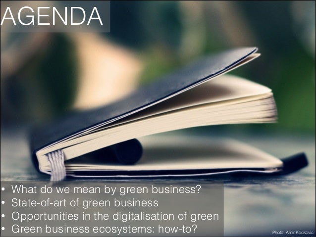 AGENDA  • • • •  What do we mean by green business? State-of-art of green business Opportunities in the digitalisation of ...
