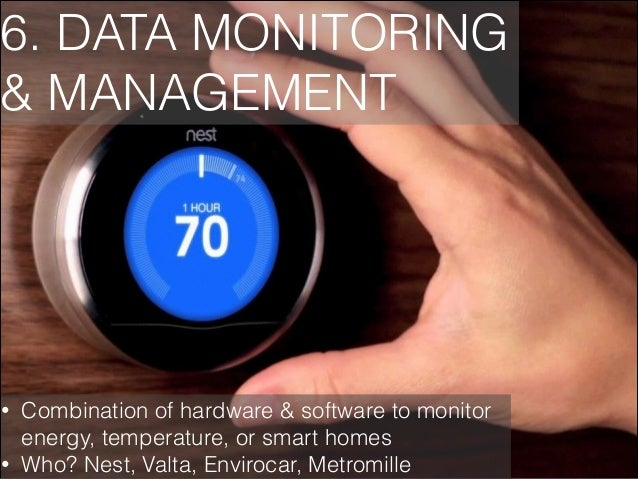 6. DATA MONITORING & MANAGEMENT  • •  Combination of hardware & software to monitor energy, temperature, or smart homes Wh...