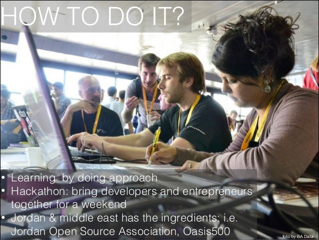 HOW TO DO IT?  • • •  Learning by doing approach Hackathon: bring developers and entrepreneurs together for a weekend Jord...