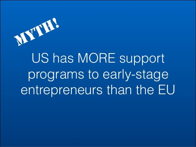 M  ! H T Y  US has MORE support programs to early-stage entrepreneurs than the EU