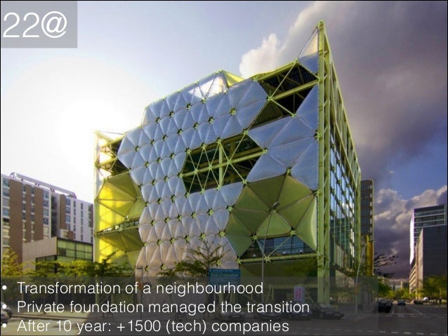 22@  • • •  Transformation of a neighbourhood Private foundation managed the transition After 10 year: +1500 (tech) compan...