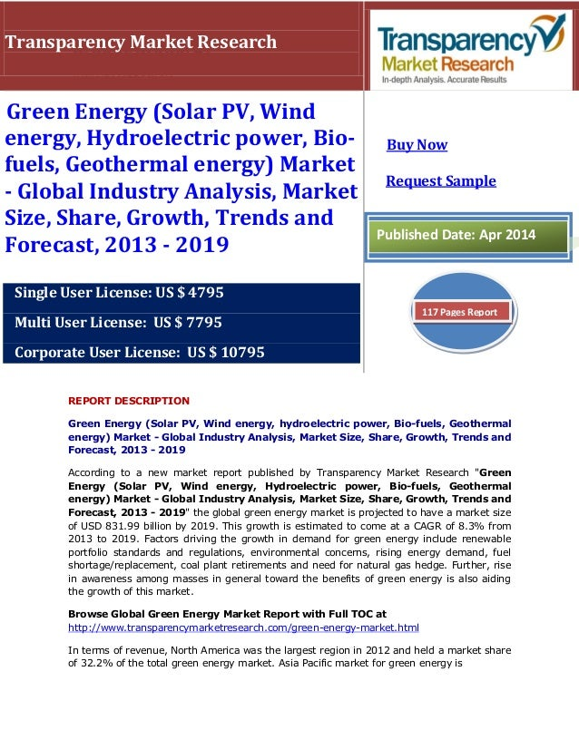 REPORT DESCRIPTION Green Energy (Solar PV, Wind energy, hydroelectric power, Bio-fuels, Geothermal energy) Market - Global...