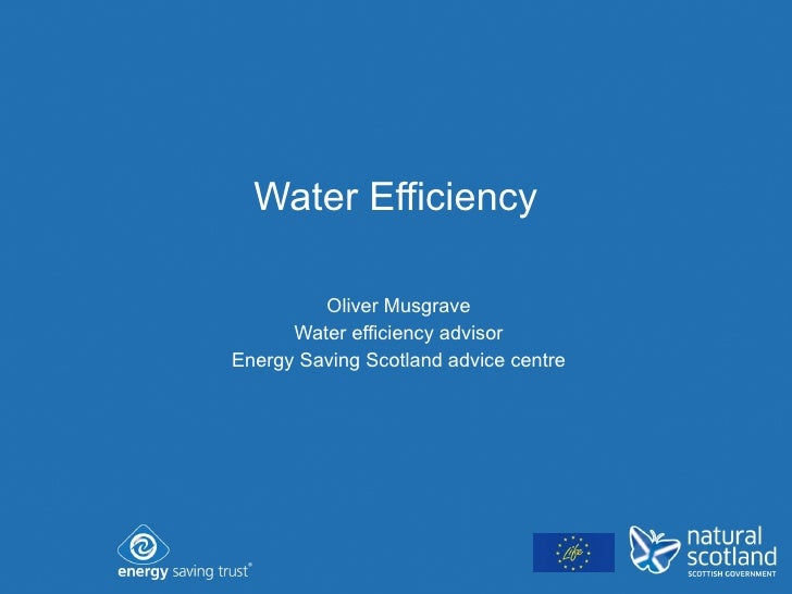 Water Efficiency Oliver Musgrave Water efficiency advisor Energy Saving Scotland advice centre