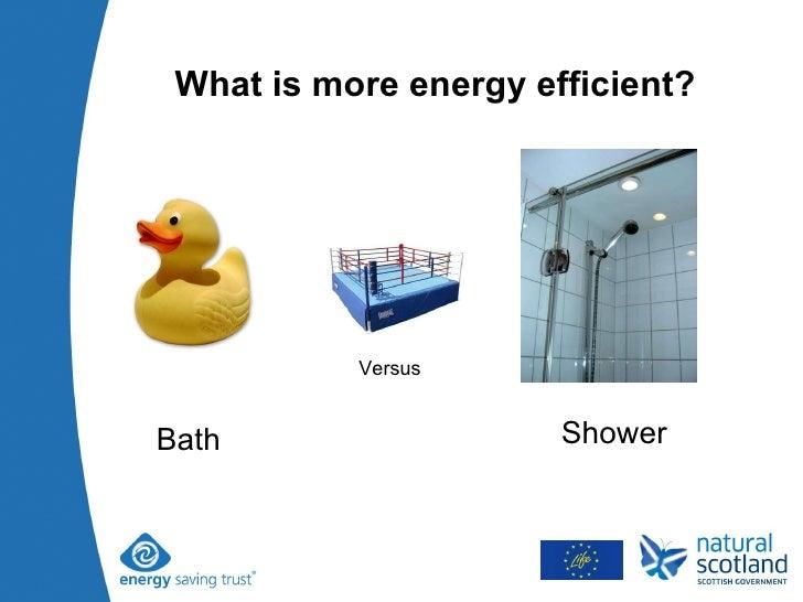 What is more energy efficient? Bath Shower Versus