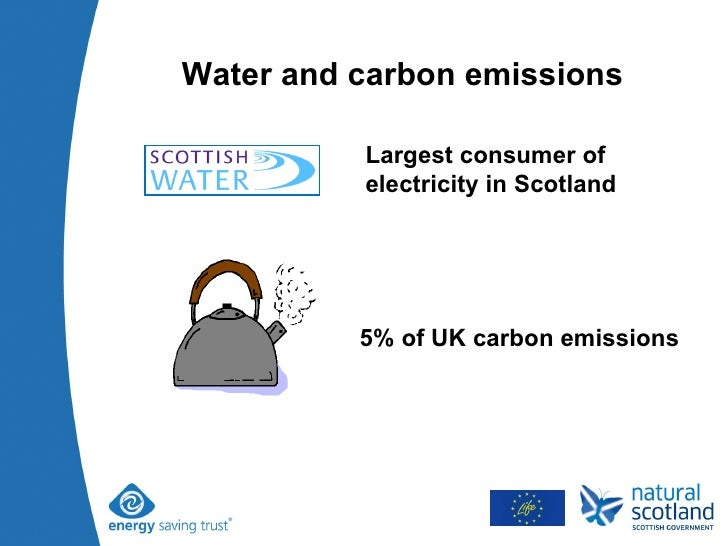 Water and carbon emissions Largest consumer of electricity in Scotland 5% of UK carbon emissions