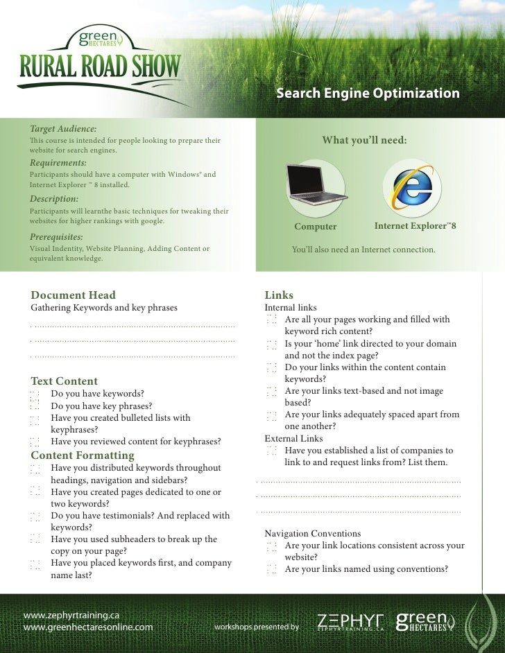 Search Engine OptimizationTarget Audience:This course is intended for people looking to prepare their                    W...