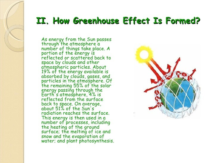 II.  How  G reenhouse  E ffect  I s  F ormed ? <ul><li>As energy from the Sun passes through the atmosphere a number of th...