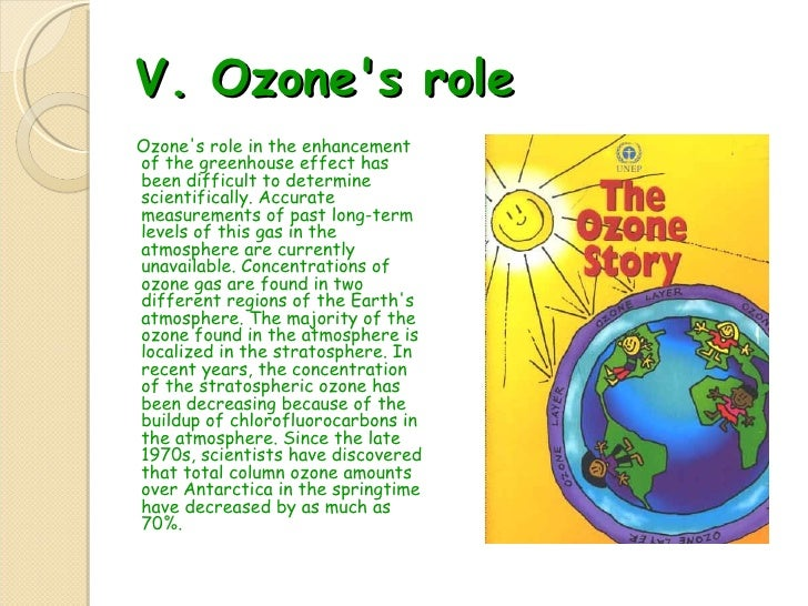 V.  Ozone's role  <ul><li>Ozone's role in the enhancement of the greenhouse effect has been difficult to determine scienti...