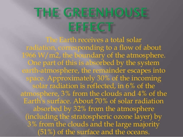 The Earth receives a total solar  radiation, corresponding to a flow of about1966 W/m2, the boundary of the atmosphere.   ...