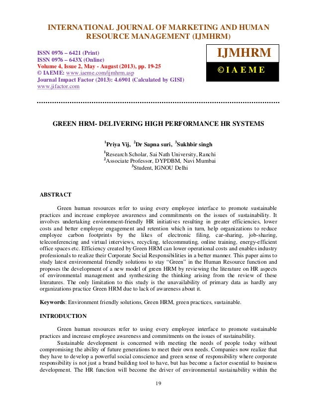 International Journal of Marketing and Human Resource Management (IJMHRM), ISSN 0976 – 6421 (Print), ISSN 0976 – 643X (Onl...