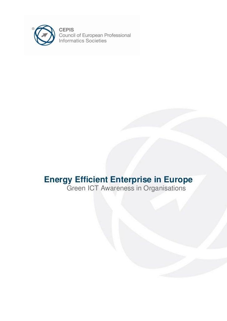 Energy Efficient Enterprise in Europe     Green ICT Awareness in Organisations