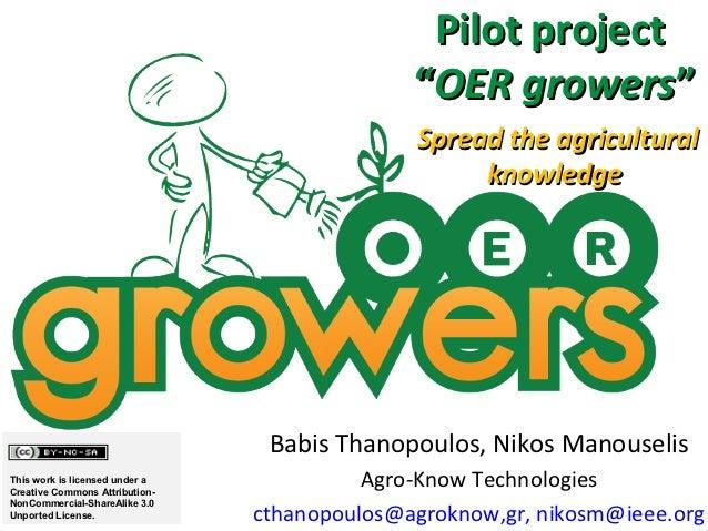 """Pilot project                                              """"OER growers""""                                              Spre..."""