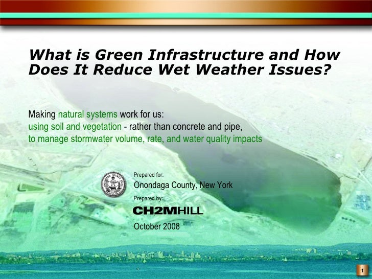 What is Green Infrastructure and HowDoes It Reduce Wet Weather Issues?Making natural systems work for us:using soil and ve...