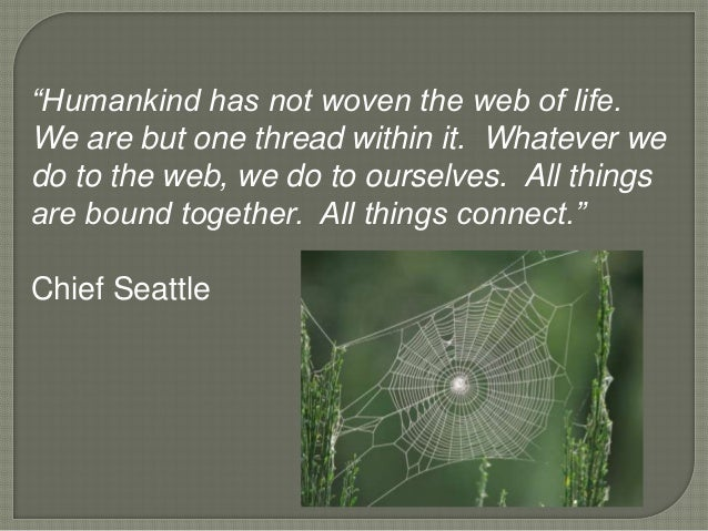 """""""Humankind has not woven the web of life.We are but one thread within it. Whatever wedo to the web, we do to ourselves. Al..."""