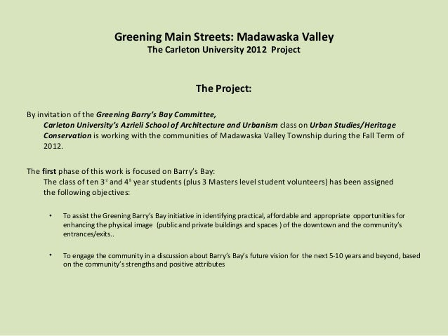 Greening Main Streets: Madawaska Valley                                      The Carleton University 2012 Project         ...