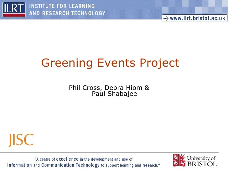 Greening Events Project Presentation for the HE Economics Network
