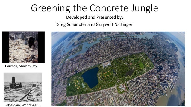Greening the Concrete Jungle Developed and Presented by: Greg Schundler and Graywolf Nattinger  Houston, Modern Day  Rotte...