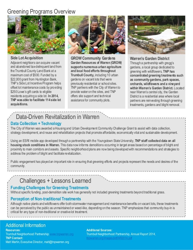 Vacant Lot Greening Series EPA Region 5 – Site Plans Are Developed Using An