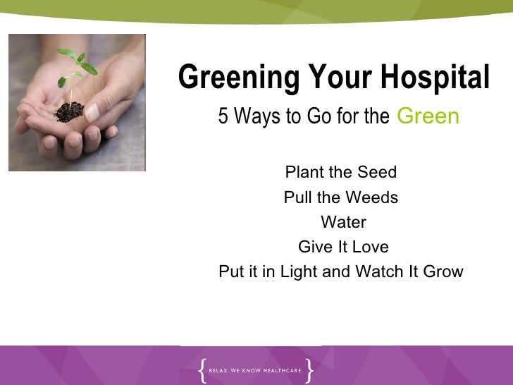 Greening Your Hospital 5 Ways to Go for the  Green Plant the Seed Pull the Weeds  Water Give It Love Put it in Light a...